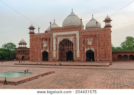Agra, India - 12 Aug 2017: The jama Masjid Mosque opposite the Taj Mahal in Agra. Beautiful example of the mughal architecture