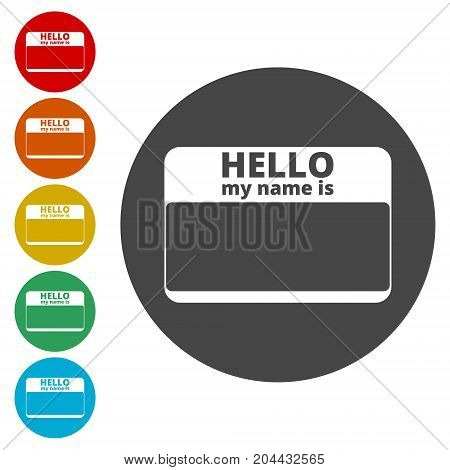 Hello my name card, with Copy Space icons set