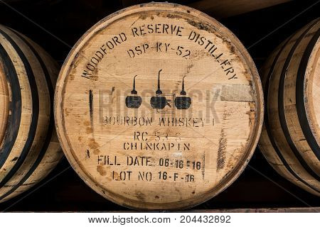 Versailles United States: May 3 2017: Close Up of Bourbon Barrel at Woodford Reserve