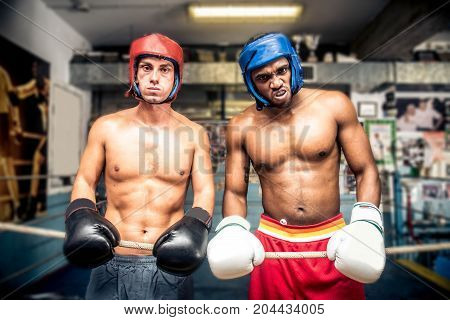 Sparring partners in a boxing club gym