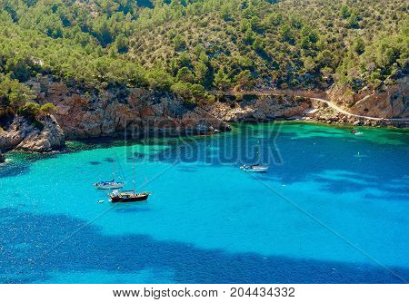 Sailboats at Puerto de San Miguel bay of Ibiza. Balearic Islands. Spain