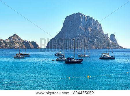 Picturesque view of the mysterious island of Es Vedra. Ibiza Island Balearic Islands. Spain