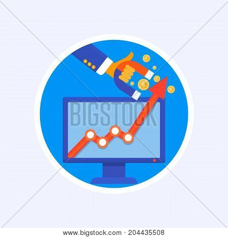 Profit. Illustration of a hand holding magnet attracting money.Concept business vector illustration.