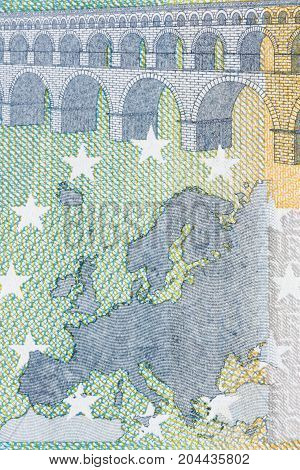 Macro details of euro banknote. High resolution photo.