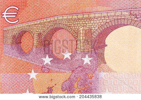 Euro banknote in macro. Selective focus. High resolution photo.