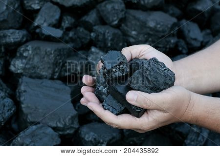 Coal mining - hands holding sunlit dark coal stone part. Concept coal mining coal processing energy source environment protection.