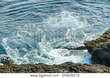 Beautiful Waves At Sea Shore At Carmel