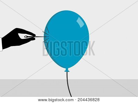 About to burst the bubble. Hand with needle and ballon. Vector illustration for financial crisis concept