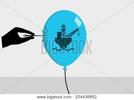 Oil crisis and declining oil price concept. Vector illustration of hand and needle bursting a bubble or balloon with symbol for oil production.