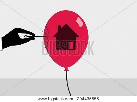 Real estate crisis and declining real estate prices concept. Vector illustration of hand and needle bursting a bubble or balloon with house symbol.