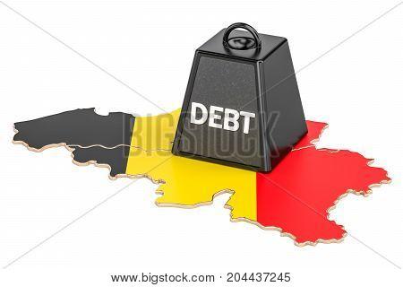 Belgian national debt or budget deficit financial crisis concept 3D rendering