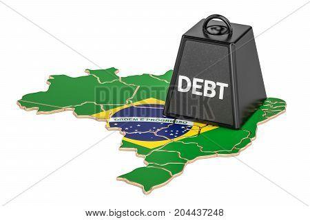 Brazilian national debt or budget deficit financial crisis concept 3D rendering