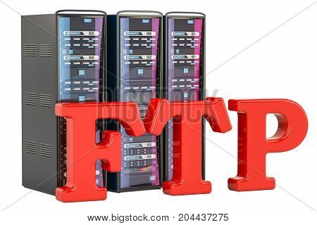 FTP Server concept. 3D rendering isolated on white background