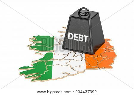 Irish national debt or budget deficit financial crisis concept 3D rendering