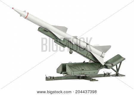 Missile defence system 3D rendering isolated on white background
