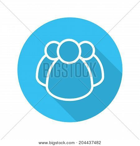 Community flat linear long shadow icon. Group of people. Community service. Teamwork. Association. Vector outline symbol