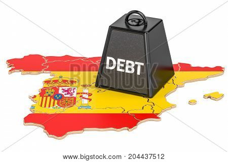 Spanish national debt or budget deficit financial crisis concept 3D rendering
