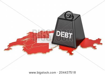 Swiss national debt or budget deficit financial crisis concept 3D rendering