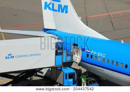 Amsterdam The Netherlands - May 26th 2017: PH-BXG KLM Royal Dutch Airlines Boeing 737 and KLM catering service