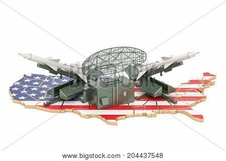 USA missile defence system concept 3D rendering