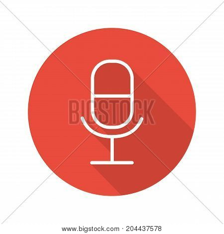Microphone flat linear long shadow icon. Table mic. Vector outline symbol