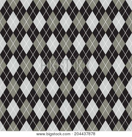 Seamless argyle pattern background. Black, grey and white pattern.