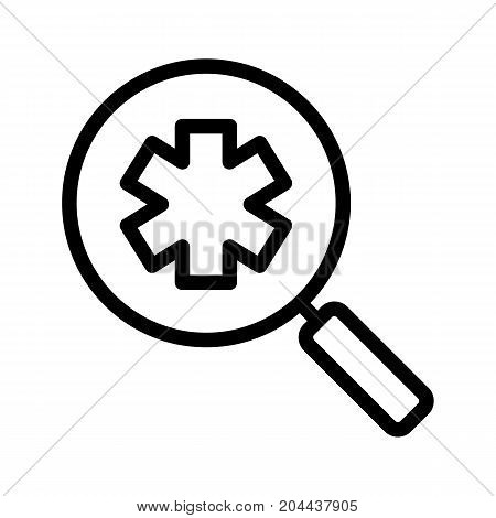 Ambulance search linear icon. Thick line illustration. Medical assistance. Magnifying glass with star of life. Contour symbol. Vector isolated outline drawing