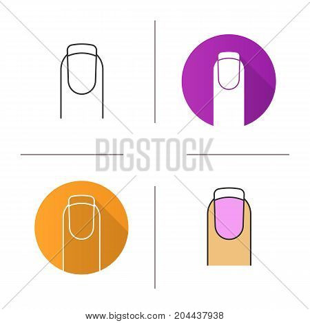 French manicure icon. Flat design, linear and color styles. Woman's nail with french manicure. Isolated vector illustrations
