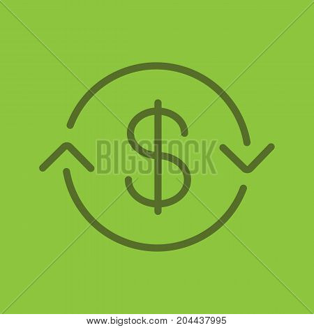 US dollar exchange linear icon. Refund. Thin line outline symbols on color background. Vector illustration