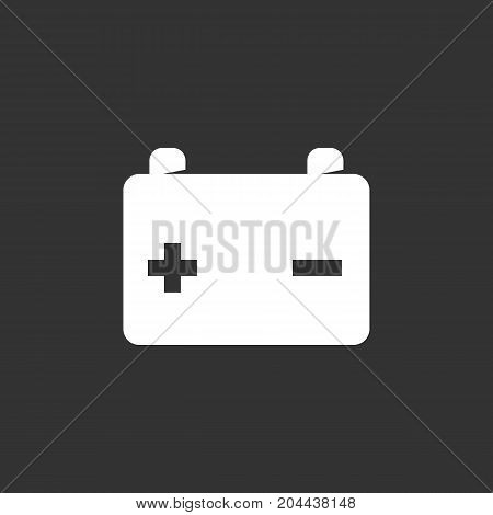 Car battery icon isolated on black background. Car battery vector logo. Flat design style. Modern vector pictogram for web graphics - stock vector
