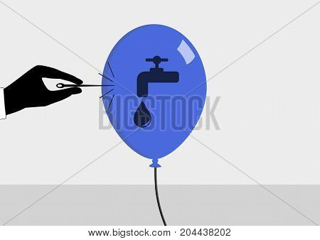 Concept of water crisis. Vector illustration in flat design of needle bursting the bubble. Symbol of water and sink.