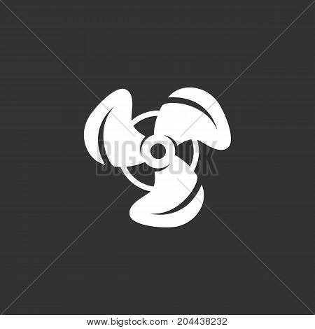 Propeller icon isolated on black background. Propeller vector logo. Fan in flat design style. Modern vector pictogram for web graphics - stock vector