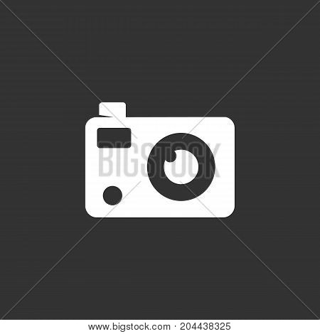 Camera icon isolated on black background. Camera vector logo. Flat design style. Modern vector pictogram for web graphics - stock vector