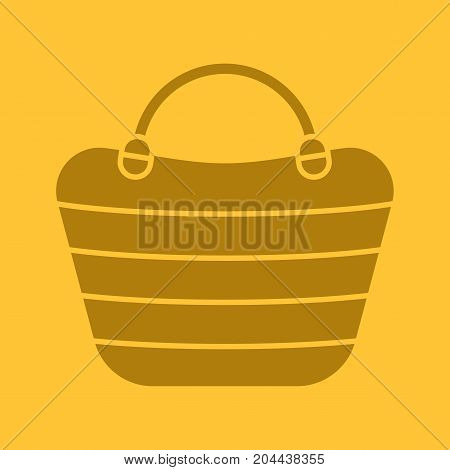 Beach bag glyph color icon. Silhouette symbol. Beach tote. Negative space. Vector isolated illustration