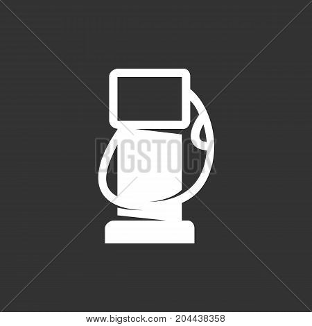 Gas station icon isolated on black background. Gas station vector logo. Flat design style. Modern vector pictogram for web graphics - stock vector