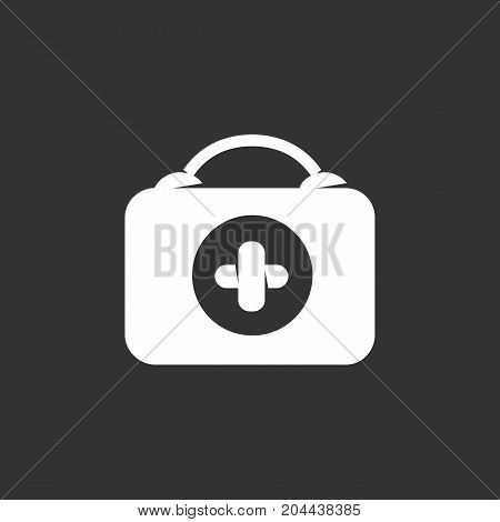 Medical bag icon isolated on black background. Medical bag vector logo. Flat design style. Modern vector pictogram for web graphics - stock vector