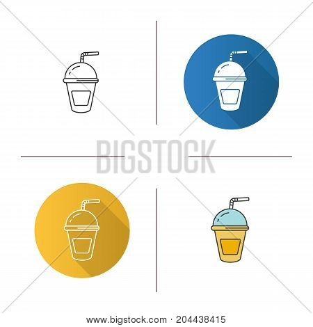 Refreshing soda drink icon. Flat design, linear and color styles. Lemonade paper cup with straw. Isolated vector illustrations