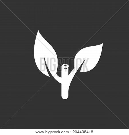 Plant icon isolated on black background. Cut plants vector logo. Flat design style. Modern vector pictogram for web graphics - stock vector