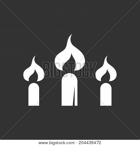 Candle icon isolated on black background. Candle vector logo. Flat design style. Modern vector pictogram for web graphics - stock vector