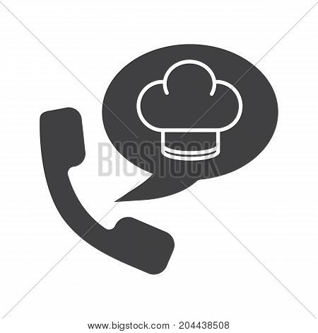 Food phone order glyph icon. Silhouette symbol. Handset with chef's hat inside speech bubble. Negative space. Vector isolated illustration