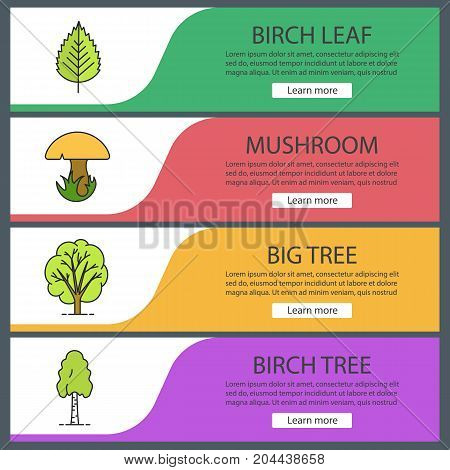 Forestry web banner templates set. Birch tree and leaf, mushroom, big tree. Website color menu items. Vector headers design concepts