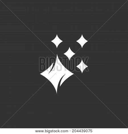 Shine icon isolated on black background. Shine vector logo. Flat design style. Modern vector pictogram for web graphics - stock vector