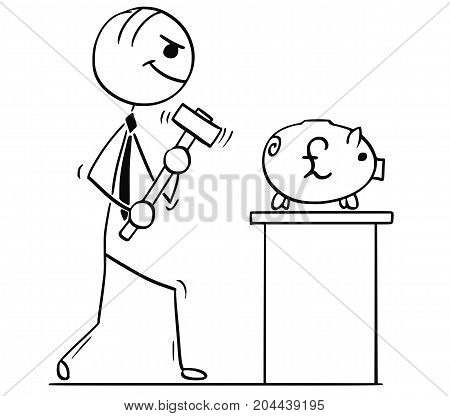 Cartoon Illustration Of Business Men With Hammer And Piggy Bank