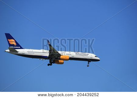 Amsterdam the Netherlands - July 9th 2017: TF-ISJ Icelandair Boeing 757-200 approaching Schiphol Amsterdam Airport Kaagbaan runway