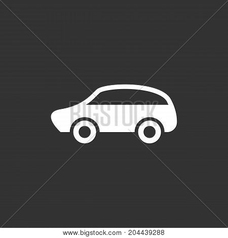 Car icon isolated on black background. Car vector logo. Flat design style. Modern vector pictogram for web graphics - stock vector