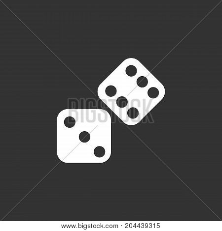 Dice icon isolated on black background. Dice vector logo. Flat design style. Modern vector pictogram for web graphics - stock vector
