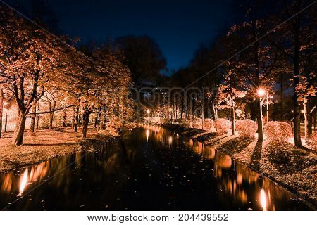 Autumn city park at night. Trees, river and street lights.