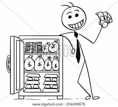 Cartoon Illustration Of Happy Business Man Posing With Vault Full Of Money And Gold
