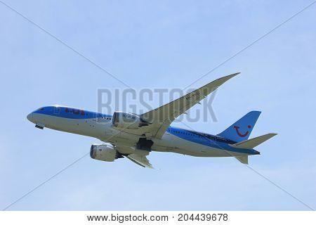 Amsterdam the Netherlands - July 9th 2017: PH-TFL TUI Airlines Netherlands Boeing 787-8 Dreamliner takeoff from Buitenveldert runway Amsterdam Airport