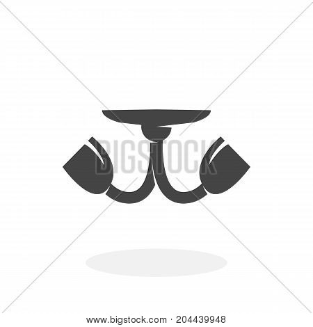 Chandelier icon isolated on white background. Chandelier vector logo. Flat design style. Modern vector pictogram for web graphics - stock vector